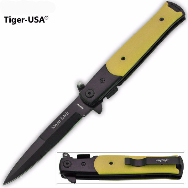 Black Blade Yellow Handle Mean-Bitch  Pocket Knife - 9 Inches