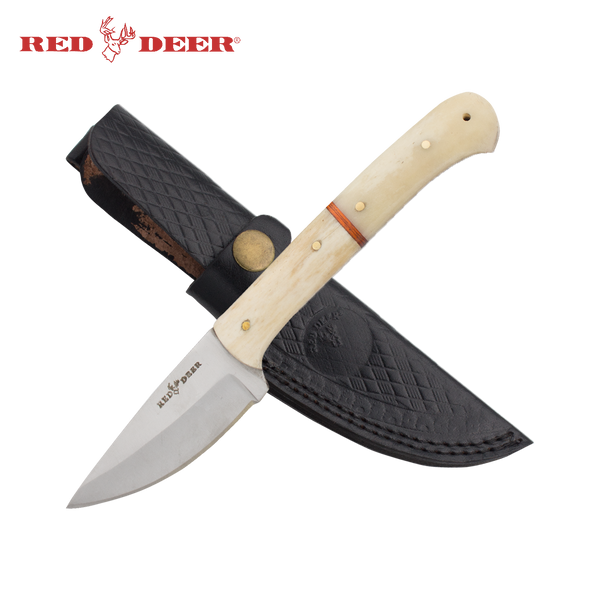8 in Red Deer® Hunting Knife Real Bone Handle