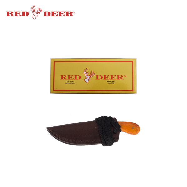 5in Red Deer Hunting Neck Knife with Orange Bone Handle