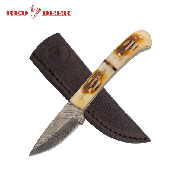 7 in Red Deer® Hunting Knife Real Damascus Blade and Animal Bone Etch Grip Handle