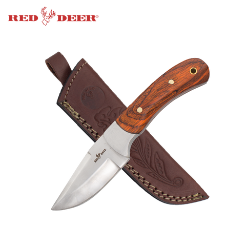 8 Inch Red Deer Natural Wood Hunting Knife