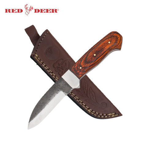 8.25 Inch Red Deer Natural Wood Textured Grip Blade Skinning Knife