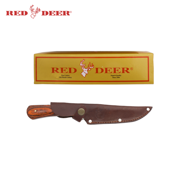 10 Inch Red Deer Hunting Knife Wood Handle and Duck Engraving