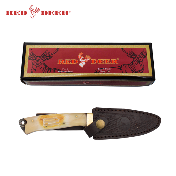9 Inch Red Deer Real Damascus Burnt Animal Bone Etch Grip Handle Hunting Knife