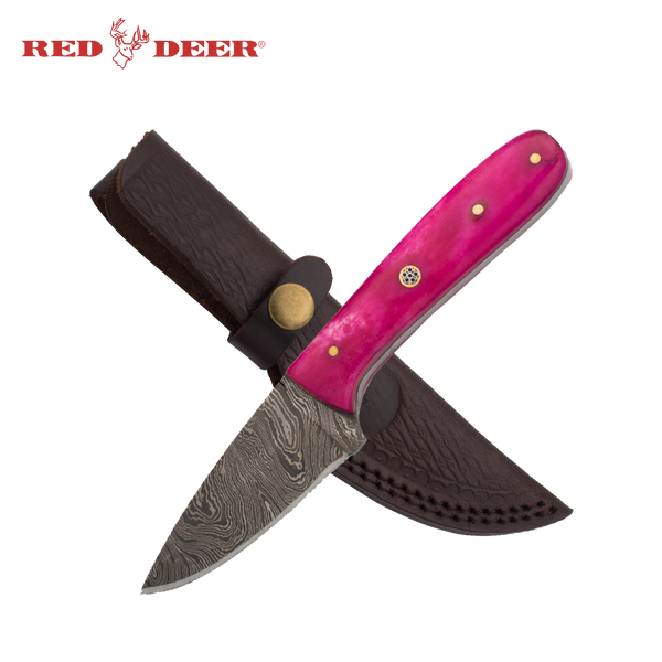 7in Red Deer Damascus Hunting Knife Smooth Pink Bone with Leather Sheath