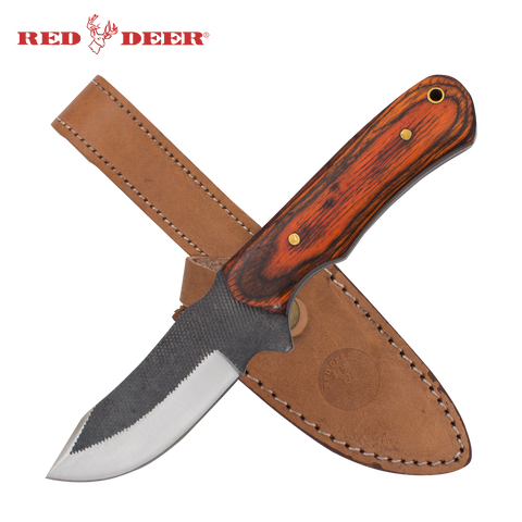Pakka Hunter Red Deer® Full Tang File Steel Nessmuk Back Pakka Wood Hunting Knife