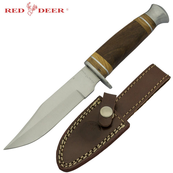 Red Deer Hunting Knife with Wooden Handle