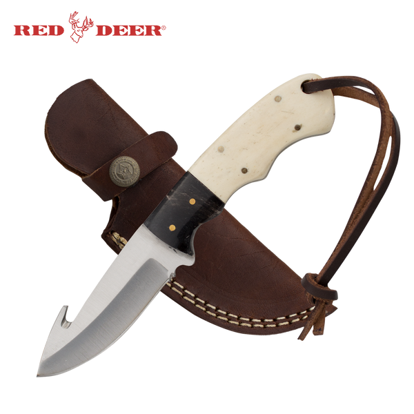 Full Tang Gut Hook Bone and Horn Hunting Knife