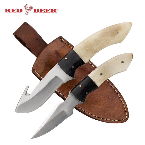 Full Tang Bone and Buffalo horn Gut Hook Knife and Skinner
