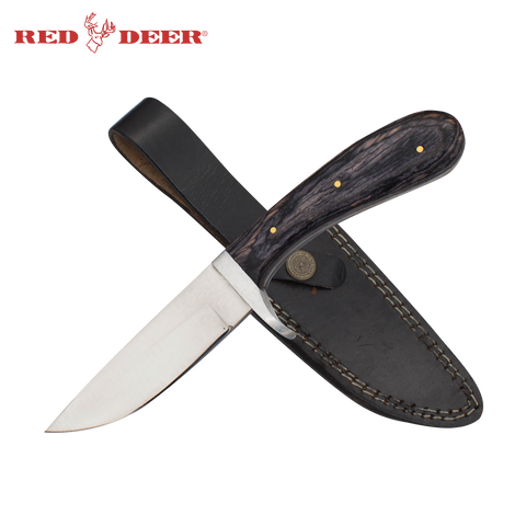 Red Deer® Full Tang Pakka Wood Handle 440 Stainless Steel Leather Sheath