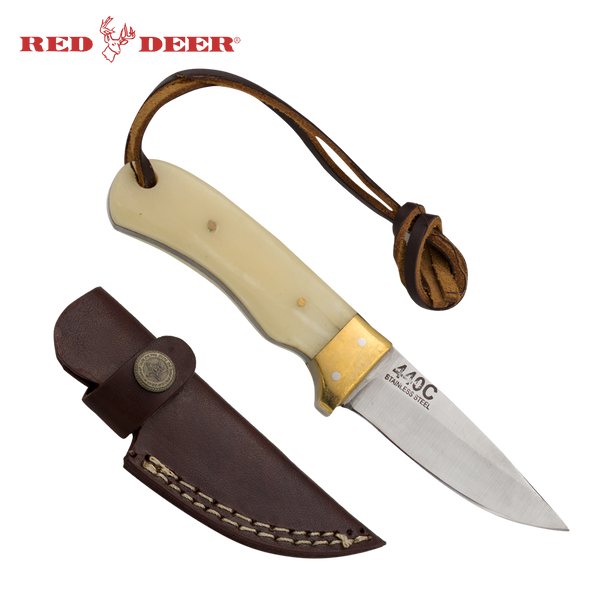 Full Tang Drop Point 6.5 Inch Animal Bone and Brass Hunting Knife