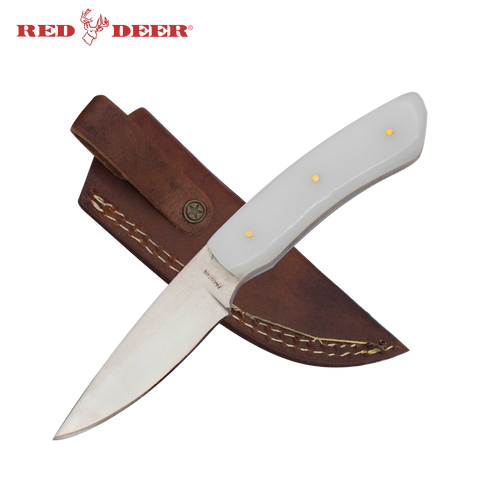 7 in Red Deer® Hunting Knife with White Acrylic Handle