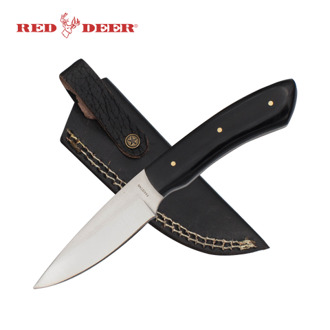 7in Red Deer® Hunting Knife with Black Acrylic Handle