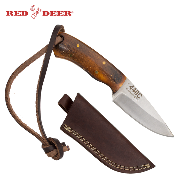 Drop Point Full Tang 6 Inch Burnt Bone Hunting Knife