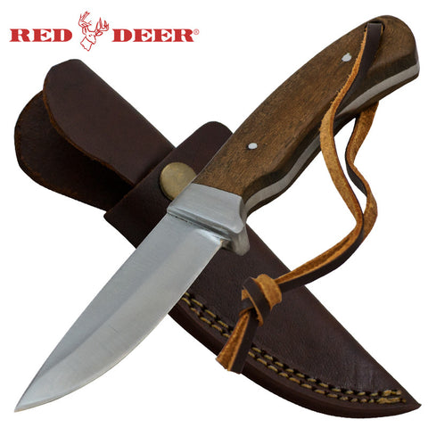 Red Deer 8 inch Hunting Knife Skinner Full Tang Pakka Wood
