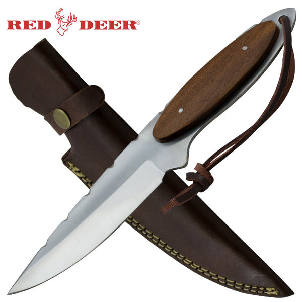 Red Deer Brown Full Tang Oval Pakka Wood Handle with Genuine Leather Sheath