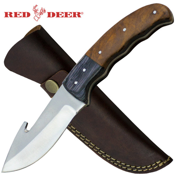 Red Deer8.5 Inches Brown Full Tang 2 Tone Pakka Wood Handle with Genuine Leather Sheath