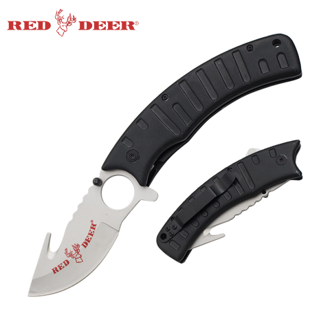 Red Deer Folding Knife 9 in - Black (No Sheath)