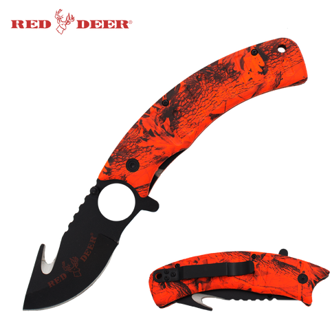 Red Deer Folding Knife 9 in - Burnt Orange (No Sheath)