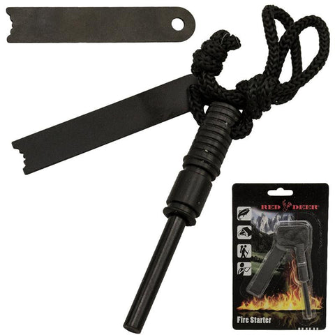 Red Deer Fire Starter Set with Paracord Magnesium Survivalist Survival Online Sales FS-902-BK