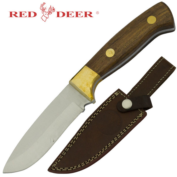 Red Deer Hunting Knife Wood Handle with Sheath