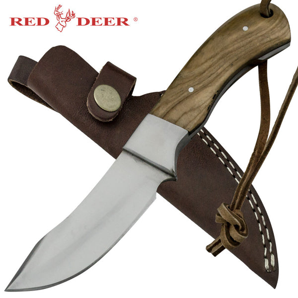 Red Deer Moose Hide Skinner Full Tang Pakka Wood Handle 440 Stainless Steel Genuine Leather Sheath