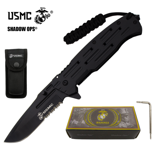 Co'Ops Flip Serrated USMC Officially Licensed Folding Knife by Shadow Ops®