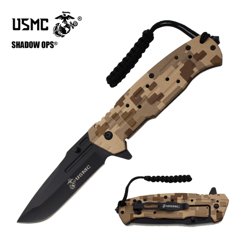 Co'Ops Flip Desert USMC Officially Licensed Folding Knife by Shadow Ops®