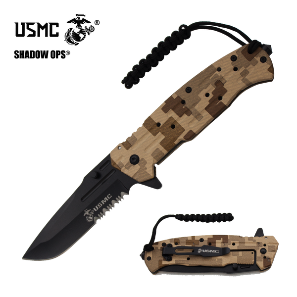 Co'Ops Flip Desert Camo Serrated USMC Officially Licensed Folding Knife by Shadow Ops®