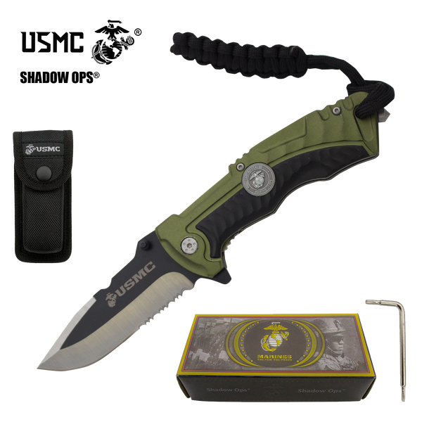 The Bullfrog Co'Ops Flip Serrated USMC Officially Licensed Folding Knife by Shadow Ops®