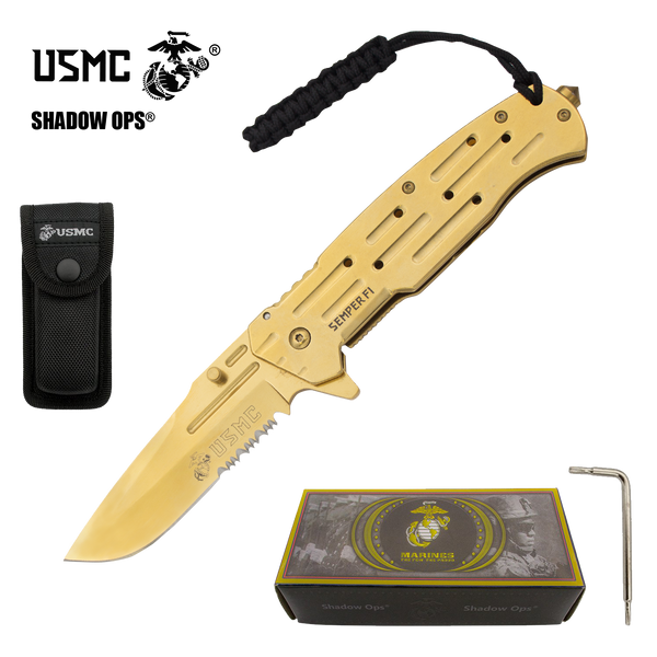 Co'Ops Flip Gold Serrated USMC Officially Licensed Folding Knife by Shadow Ops®