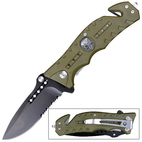 Skull Crusher Folding Pocket Knife Green