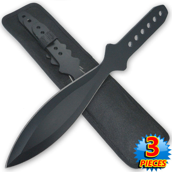 9 Inch 4.2 Oz Black Tiger Thrower Throwing Knives (Set of 3)