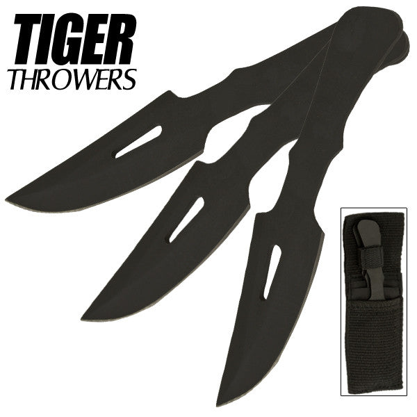 Three 6 Inch Tiger Throwing Knives - Black