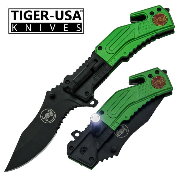 Tiger-USA Easy Open LED Flash Light Tactical Knife