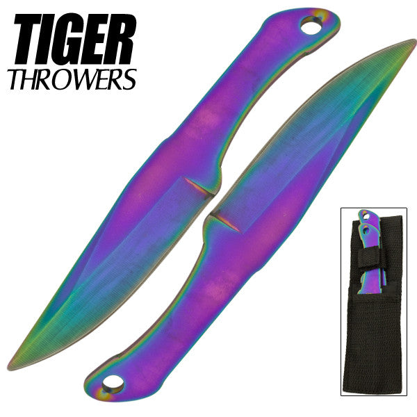 Tiger Thrower - Throwing Knives - Rainbow - Set of 2 - 6 Inch - Comes with Sheath