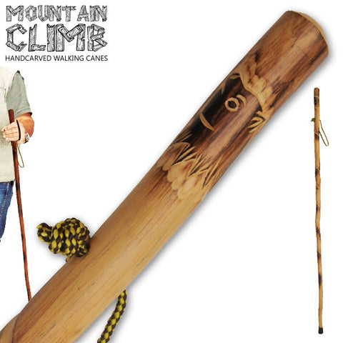 55 Inch Hand Carved Walking Cane - Wolf Alternate