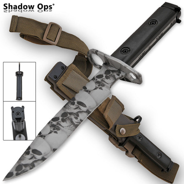 Heavy Duty Shadow Ops Bayonet Undead Skull - Grey