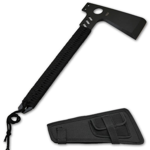 16 Inch Throwing Axe  with Wrapped Black  Cord handle  -Black