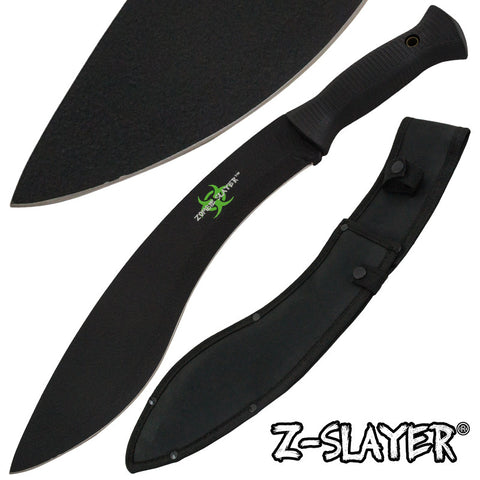 Z-Slayer Undead Blood Gurkha Kukri Full Tang Machete - Black