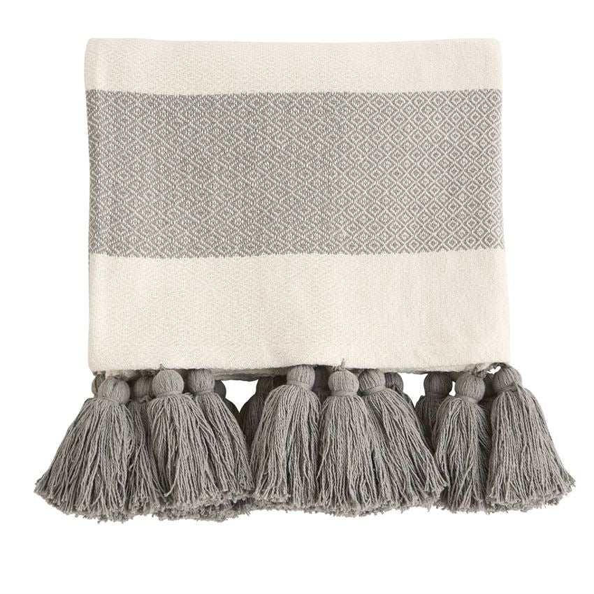 Woven Tassel Throw - Bleu Spruce