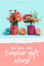 Mason Jar Teacher Gift Ideas with brightly colored flowers in mason jars with patterned silicone sleeves