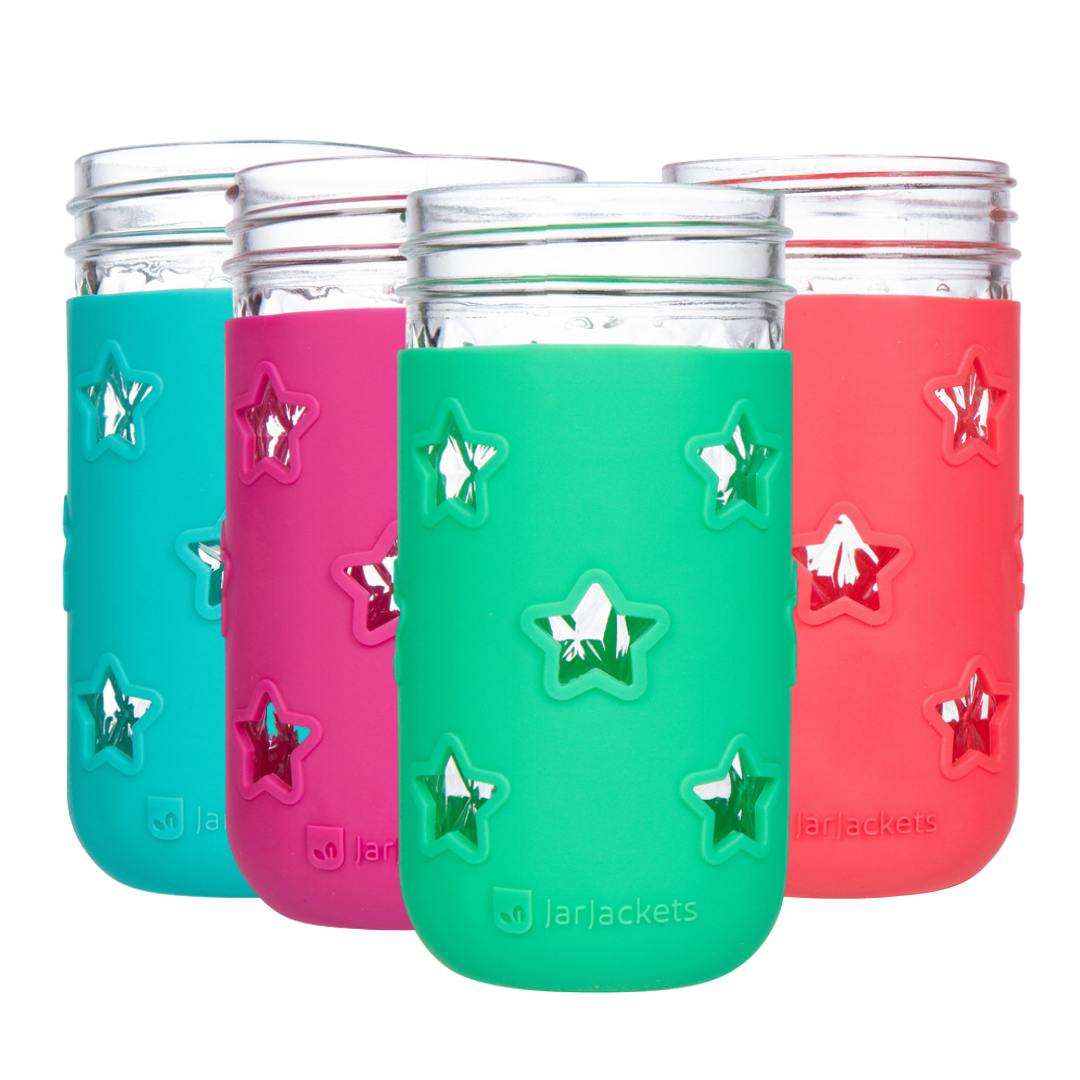 Silicone Mason Jar Sleeves - 12oz Jelly Jar (4-pack, Multicolor)