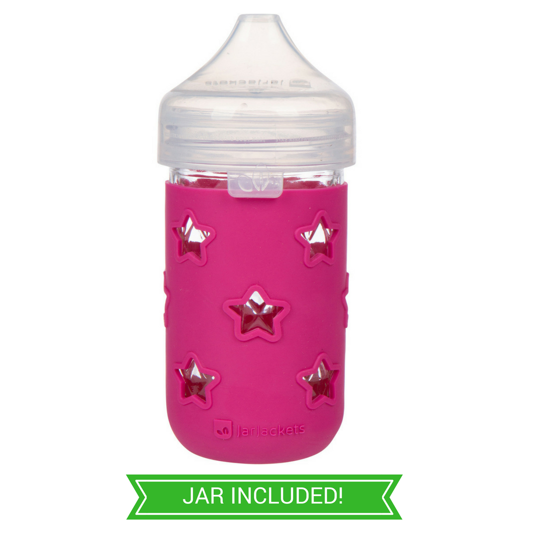 2cfb6735235 SILICONE MASON JAR SLEEVE + SIPPY LID - FITS 12OZ JELLY JARS