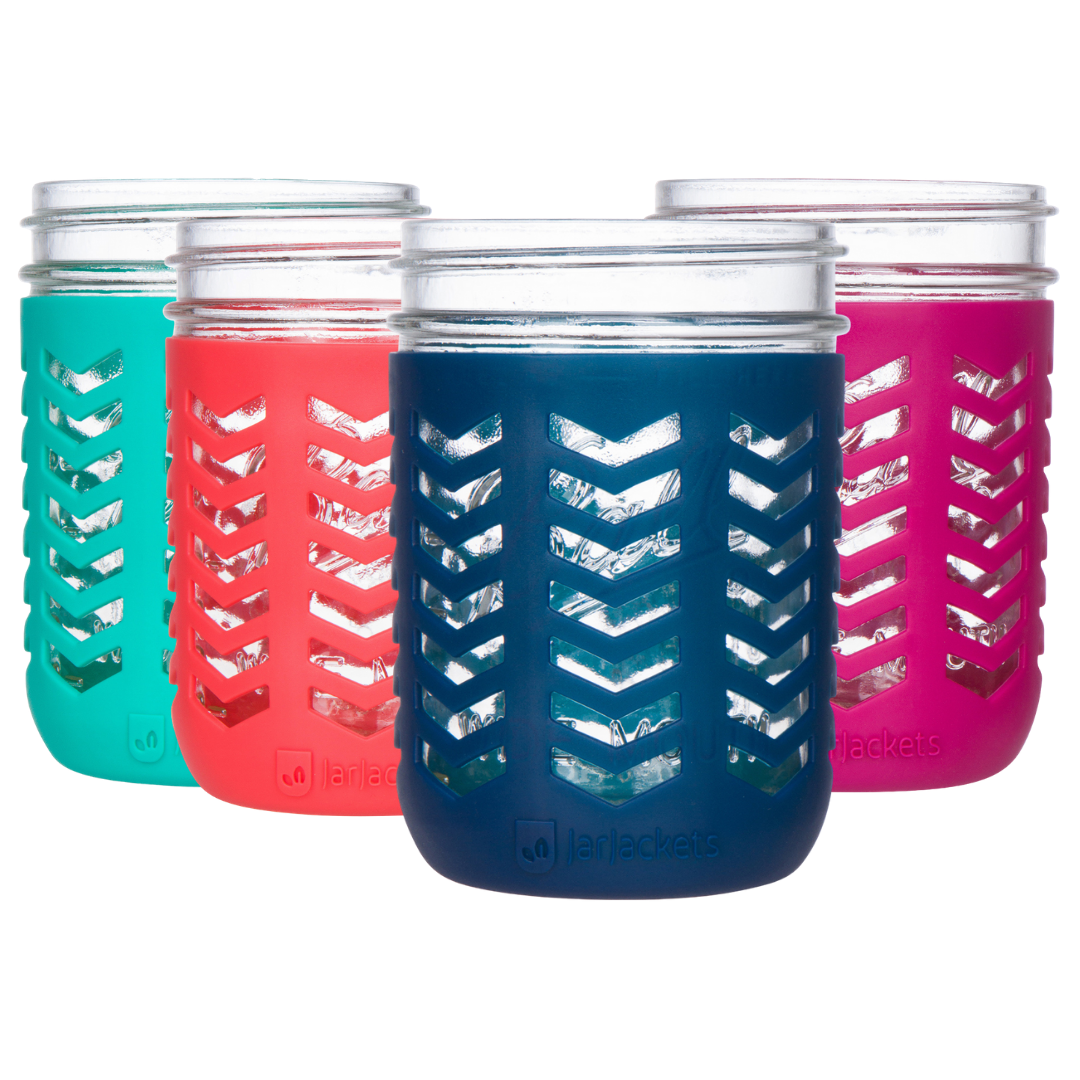 Silicone Mason Jar Sleeves - 16oz (1 pint) Wide-Mouth Jars (4-pack, Multicolor)
