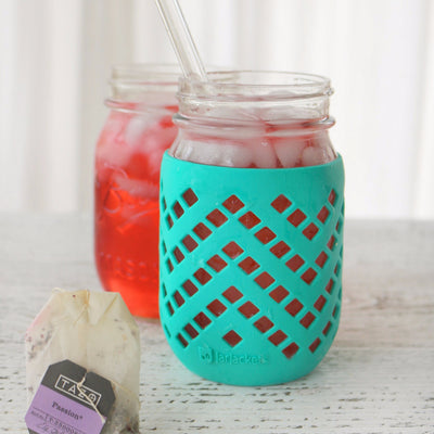 Package of 4 | Silicone Mason Jar Sleeves - Fits 16oz (1 pint) REGULAR-Mouth Jars | Lagoon