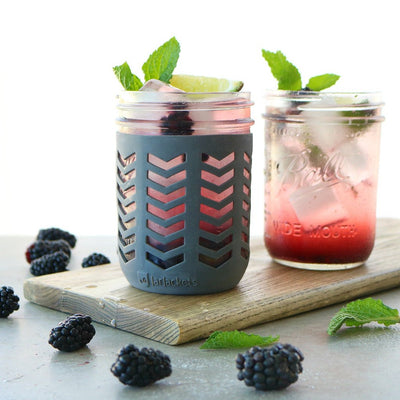 Package of 1 | Silicone Mason Jar Protector Sleeve - Fits Ball, Kerr 16oz (1 pint) Wide-Mouth Jars (Charcoal)