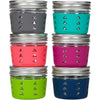 Package of 2 | Silicone Mason Jar Sleeve + Sippy Lid - Fits 12oz Jelly Jars | Grasshopper