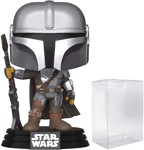 Funko POP! Star Wars The Mandalorian Chrome Mando Amazon + Pop protector