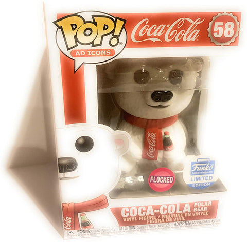 Pop! Ad Icons: Coca-Cola Polar Bear Flocked Funko Shop Limited + Pop Protector